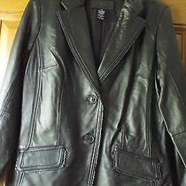 Jaclyn Smith Classic100% Leather Lambs Skin Solid Black Jacket Sz 12 New Photo