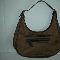 Jaclyn Smith Designer Handbag Purse Brown Cloth and Faux Leather Bag Photo