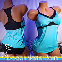 Jag Swimsuit Aqua Mesh Tankini Top M and Bottoms 10  Photo