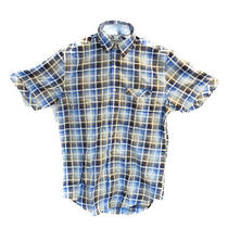James Campbell Collared Button Up Shirt Blue Plaid Small Photo
