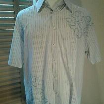 James Campbell Los Angeles Blue Striped Short Sleeve Shirt Size Xl       P11005 Photo