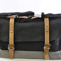 James Campbell Men's Messenger Travel College Shoulder Bag Black & Grey Photo