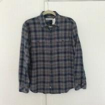 James Campbell Mens Shirt  med.button-Front Flannel Plaid 98 Photo