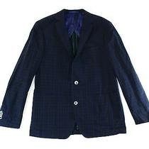 James Campbell New Blue Mens 42 R Two Button Wool Plaid Blazer 325 879 Deal Photo