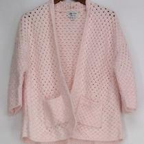 Jamie Gries Sweater M Basketweave Blush Light Pink New Nwot Photo
