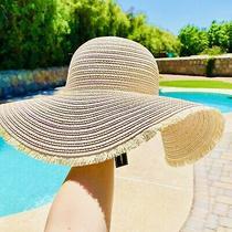 Jane & Berry Blush & Gold Paper Straw Floppy Summer Hat Photo