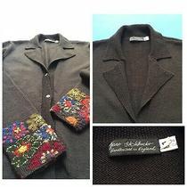 Jane Wheeler Black Embroidered Cardigan Wool Sweater Anthropologie England Sz L Photo