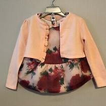 Janie and Jack Blush Beauty Floral Top and Sweater Size 3 Euc  Photo