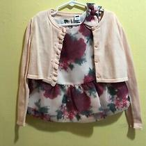 Janie and Jack Blush Beauty Floral Top and Sweater Size 4 Euc Photo