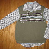 Janie and Jack Boys Gift Express Green Sweater Vest and Shirt Sz 5 Guc/vguc Photo