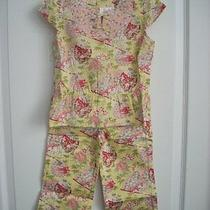 Janie and Jack Spring Blush Yellow Floral Fan Top & Capri Pants Girl Size 5t 5 Photo