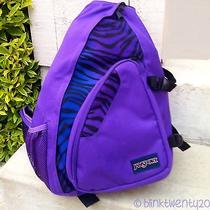 Jansport Air Cisco Black Prism Purple Zebra Print Ergonomic Sling Backpack Photo