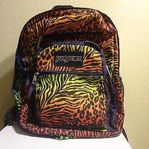 Jansport Animal Print Colorful Backpack Neon Bright Classic Series Girls Zebra  Photo