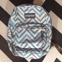 Jansport Backpack Book Sack Bag Chevron Print Blue and Brown Photo