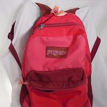 Jansport Backpack Bookbag Feather Light Vintage Pink Wine Simple Photo