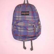 Jansport Backpack Bookbag Purple Plaid  Photo