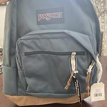 Jansport Backpack / Leather Bottom / Blue Photo