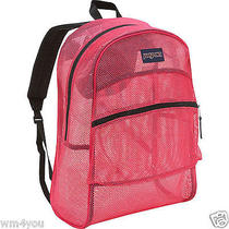 Jansport Backpack Mesh Majestic Pink Big See Through Student Pool Beach Bag New Photo