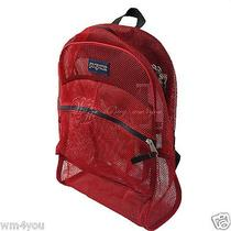 Jansport Backpack Mesh Red Big See Through Pool Casual Student Beach Daypack New Photo
