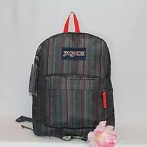 Jansport Backpack New School Bag  - Superbreak Red Tape Grunge Stripe Photo