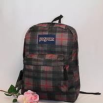 Jansport Backpack New School Bag  - Superbreak Red Tape Knit Plaid Photo