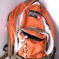 Jansport Backpack Orange Brown Tan Some Fading No Rips or Tears Slight Stains Photo