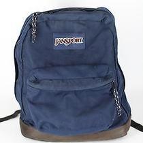 Jansport Backpack Original Vtg Leather Bottom & Carry Handle Navy Day Right Pack Photo
