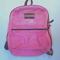 Jansport Backpack Pink Mesh See-Through Student Bookbag Excellent Condition Photo