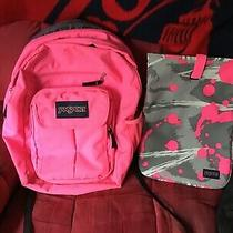 Jansport Backpack Pink With Matching Laptop Bag Photo