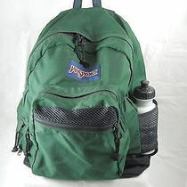Jansport Backpack Softsided Green With Water Bottle Photo