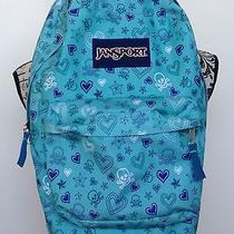 Jansport Backpack Teal  Crossbones Purple Hearts Skull  Photo