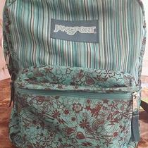 Jansport Backpack Turquoise Brown Flowers Lightning Bolts Hearts Stars Doodles  Photo