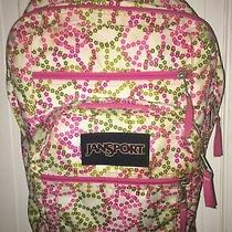 Jansport Backpack White With Pink and Green Peace Signs Back to School/travel Photo