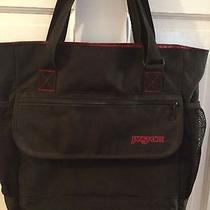 Jansport Bag Backpack Computer Messenger Tote Bag Black and Red Euc Photo