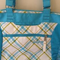 Jansport Bag Backpack Computer Messenger Tote Bag Blue & Brown Plaid Euc Photo