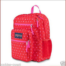 Jansport Big Student Backpack - 2100 Cu in  Xl X-Large Bag - Red Pink Dots New Photo