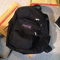 Jansport Black Bag Backpack Bookbag Hiking College Back to School Photo