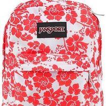 Jansport Black Label Superbreak Backpack - Fluorescent Red Floral Fun Photo