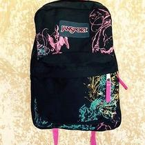 Jansport Black Packpack W/ Bright Colored Graphic Design  Photo