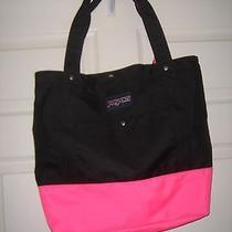 Jansport Black & Pink Shopping Beach Tote Square Large Bag Purse Handbag Photo