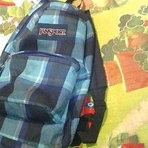Jansport Blue Plaid Checkered Backpack Bargain Price Photo