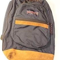 Jansport Blue & Suede Leather Bottom Nylon Backpack Book Bag Photo