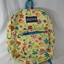 Jansport Bright Green W/ Birds & Flowers Backpack Photo