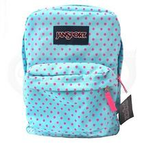 Jansport Classic Superbreak Backpack Blue Pink Dot Casual Student Casual Bag New Photo
