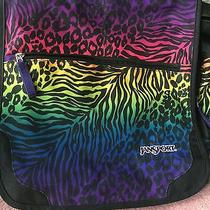 Jansport Computer or Messenger Black Bag With Rainbow Leopard Zebra Print Photo
