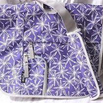 Jansport Cross Body Messenger Laptop Book School Bag Multi-Pockets Purple White Photo