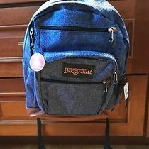 Jansport Denim Look Cool Student Blue Heathered Twill Laptop School Bag Backpack Photo
