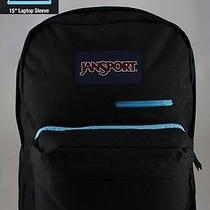 Jansport Digibreak Backpack Black/light Blue Laptop Tablet Phone Superbreak New Photo
