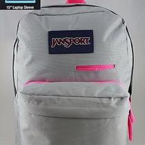 Jansport Digibreak Backpack Gray Rabbit/neon Pink Laptop Tablet Superbreak New Photo