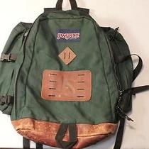 Jansport Forest Green Nylon Canvas Backpack Leather Bottom Photo